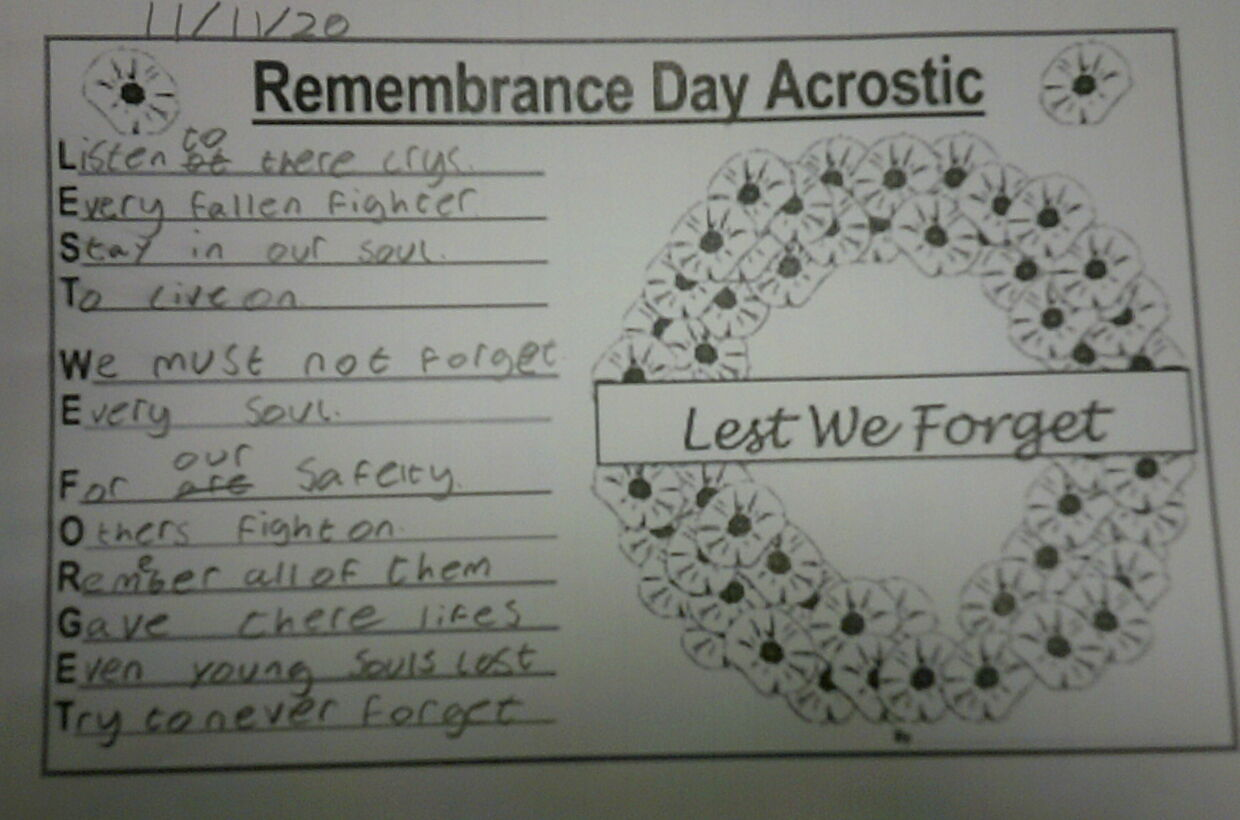 Year 8 Remembrance Day Update Term 2 Week 2